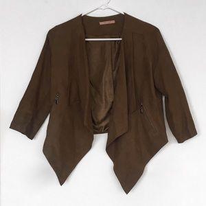 Ten n' Rose Brown Faux Suede Drape Jacket / Blazer